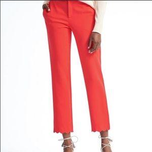 Banana Republic Avery Scallop Pants Red